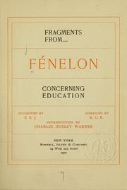 Cover of: Fragments from Fénelon concerning education