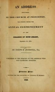 Cover of: An address delivered in the church at Princeton