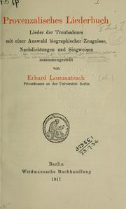 Cover of: Provenzalisches Liederbuch