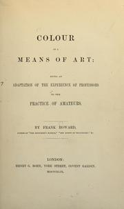 Cover of: Colour as a means of art