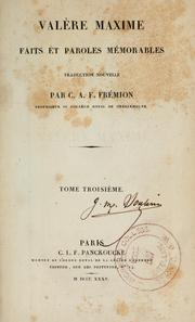 Cover of: Valère Maxime Faits et paroles mémorables
