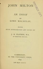 Cover of: John Milton: an essay