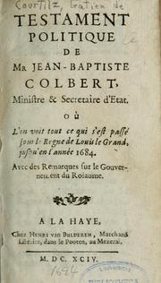Cover of: Testament politique de Mr Jean-baptiste Colbert ...