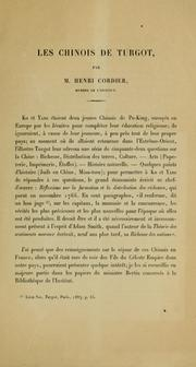 Cover of: Les Chinois de Turgot