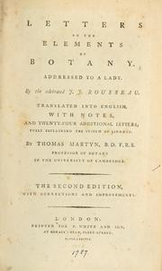 Cover of: Letters on the elements of botany: addressed to a lady