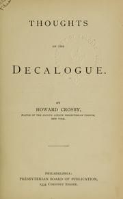 Cover of: Thoughts on the decalogue