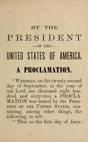 Cover of: Emancipation proclamation of January 1st, 1864 [sic]