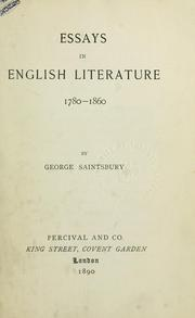 Cover of: Essays in English literature, 1780-1860