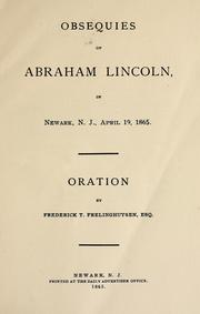 Cover of: Obsequies of Abraham Lincoln, in Newark, N. J., April 19, 1865
