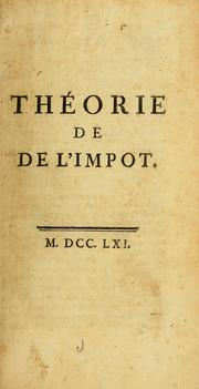 Cover of: Théorie de l'impot