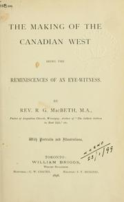 Cover of: The making of the Canadian West