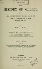 Cover of: The history of Greece from its commencement of the close of the independence of the Greek nation