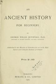 Cover of: An ancient history for beginners