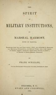 Cover of: The spirit of military institutions