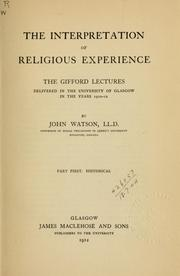 Cover of: The interpretation of religious experience
