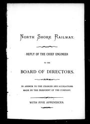 Cover of: Reply of the chief engineer to the board of directors