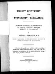 Cover of: Trinity University and university federation