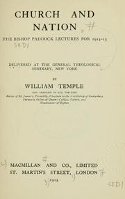 Cover of: Church and nation