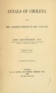 Cover of: Annals of cholera