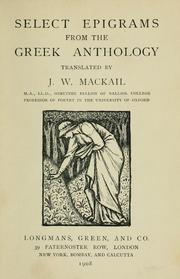 Cover of: Select epigrams from the Greek anthology