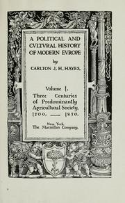 Cover of: A political and cultural history of modern Europe
