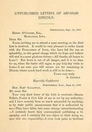 Cover of: Unpublished letters of Abraham Lincoln
