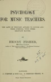 Cover of: Psychology for music teachers