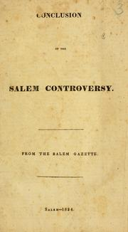 Cover of: Conclusion of the Salem controversy