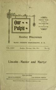 Cover of: Lincoln, master and martyr
