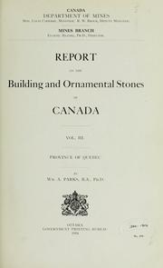 Cover of: Report on the building and ornamental stones of Canada
