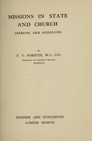Cover of: Missions in state and church