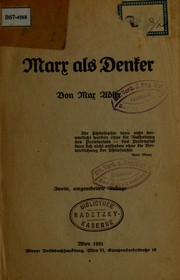 Cover of: Marx als denker