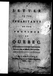Cover of: A Letter to the inhabitants of the province of Quebec