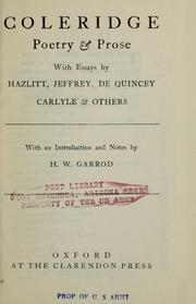 Cover of: Coleridge poetry and prose: with essays by Hazlitt, Jeffrey, De Quincey, Carlyle and others