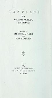 Cover of: Tantalus: With a memorial note by F.B. Sanborn.