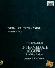 Cover of: Partial solutions manual to accompany Intermediate algebra for college students