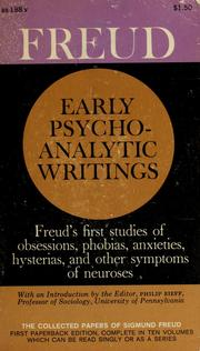 Cover of: Early Psychoanalytic Writings