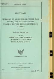 Cover of: Staff data