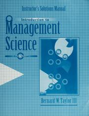 Cover of: Instructor's solution manual