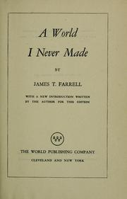 Cover of: A world I never made