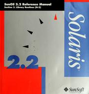 Cover of: SunOS 5.2 reference manual