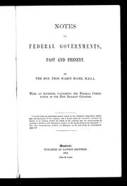 Cover of: Notes on federal governments, past and present