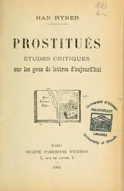 Cover of: Prostitués