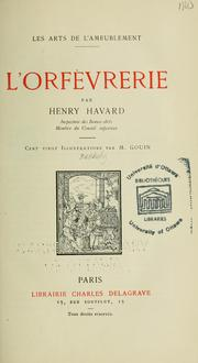 Cover of: L'orfèvrerie