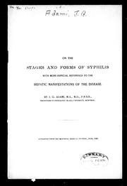 Cover of: On the stages and forms of syphilis