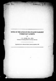 Cover of: Notes on the lungs of one of Koch's earliest tuberculin patients