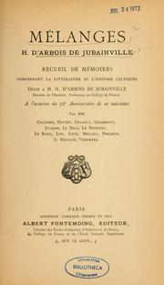 Cover of: Mélanges H. d'Arbois de Jubainville