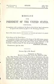 Cover of: Message of the President of the United States