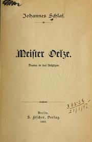 Cover of: Meister Oelze
