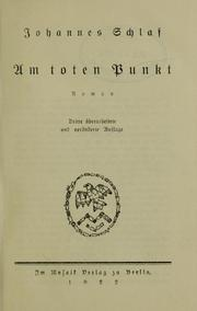 Cover of: Am toten Punkt